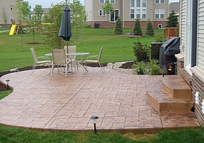 Picture of stamped concrete patio taken at a residential home in Kalamazoo, Michigan.