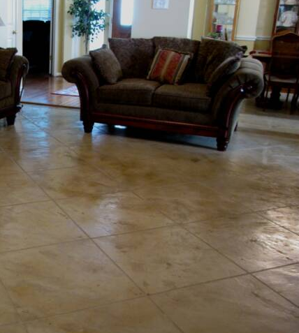 Living Room In Residential Home Kalamazoo Michigan With Stamped Concrete Floors