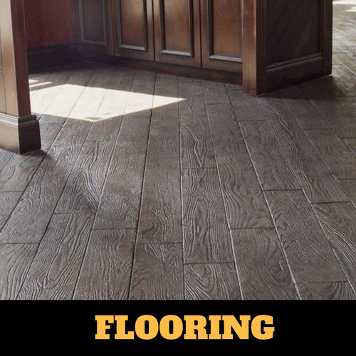 Interior floor stamped in a slate gray wood grain in downtown Kalamazoo, Michigan.