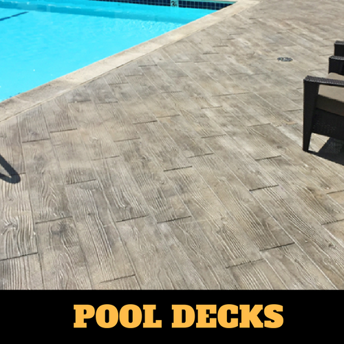 Kalamazoo stamped concrete pool surround with a wood grain finish.