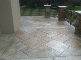 Stamped concrete patio outside a golf country club in Kalamazoo, Michigan.