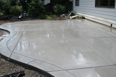 Smooth finished concrete patio in a home in Kalamazoo.