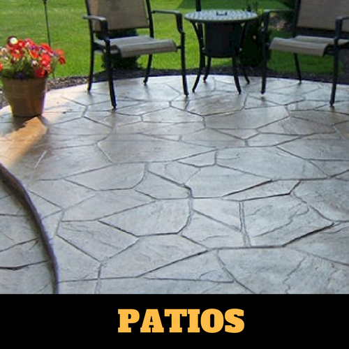 Residential patio in Portage, Michigan with a stamped finish.